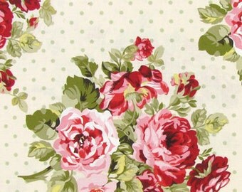 SHABBY CHIC FLORAL Fabric By the Yard, Half, Fat Quarter Roses Dots Flowers Sage Green Pink on Cream 100% Cotton Quilting Apparel t2/14