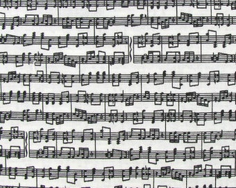 B&W Sheet Music Fabric By the Yard, Half, Fat Quarter Grand Staff Black White Piano Notes Musical Sheet Cotton Quilting Fabric BTY w1/15