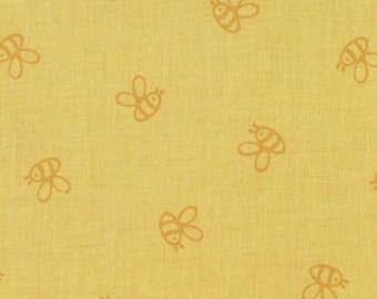 WINNIE THE POOH Fabric By the Yard, Half, Fat Quarter Honey Bee on Yellow Bumble Bee 100% Cotton Quilting Apparel Fabric t5/22