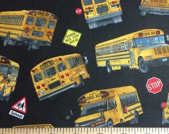 YELLOW Public SCHOOL BUS Fabric By the Yard, Half, Fat Quarter Stop Sign Crossing Road Signs on Black 100% Cotton Quilting Apparel f/s
