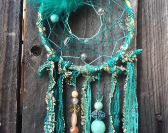 Dreamcatcher; turquoise/mint green, coral & gold inspired!