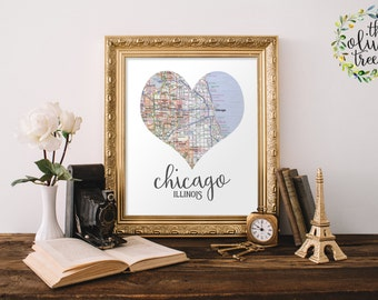 Heart Map print, printable map wall art decor, INSTANT DOWNLOAD - Chicago, Illinois