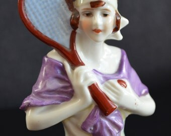 Half Doll Tennis Girl Art Deco Flapper Pincushion Doll with Racquet German Vanity Brush Porcelain China Doll