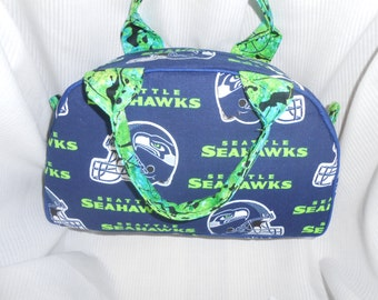 Seattle Football Fan Vintage Inspired Handbag- Bowler Bag, Small Purse, Vanity Bag, Makeup Case, Mens Dopp Kit, Mens Shaving Kit Bag