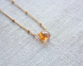 Gold Citrine Gemstone Necklace, November Birthstone, Gemstone Jewelry, Citrine Jewelry, Citrine Pendant, Birthstone Necklace, Gift for Her