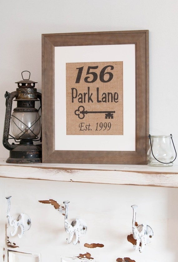 Personalized Burlap Print Address Wall Decor By Mrandmissis
