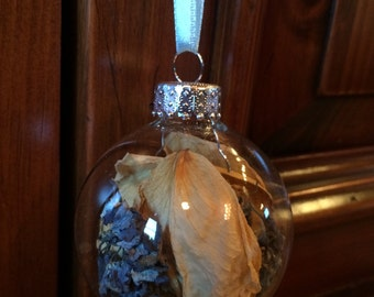 Dried Hydrangea and Rose Petal Ornament