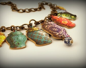 Chinese necklace - Chinese jewelry - Ginger jars - Chinese charms - Charm necklace - Shrink Plastic - Blue - Red - Yellow - Green - Teal