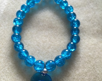 Blue Glass Evil Eye Charm Bracelet