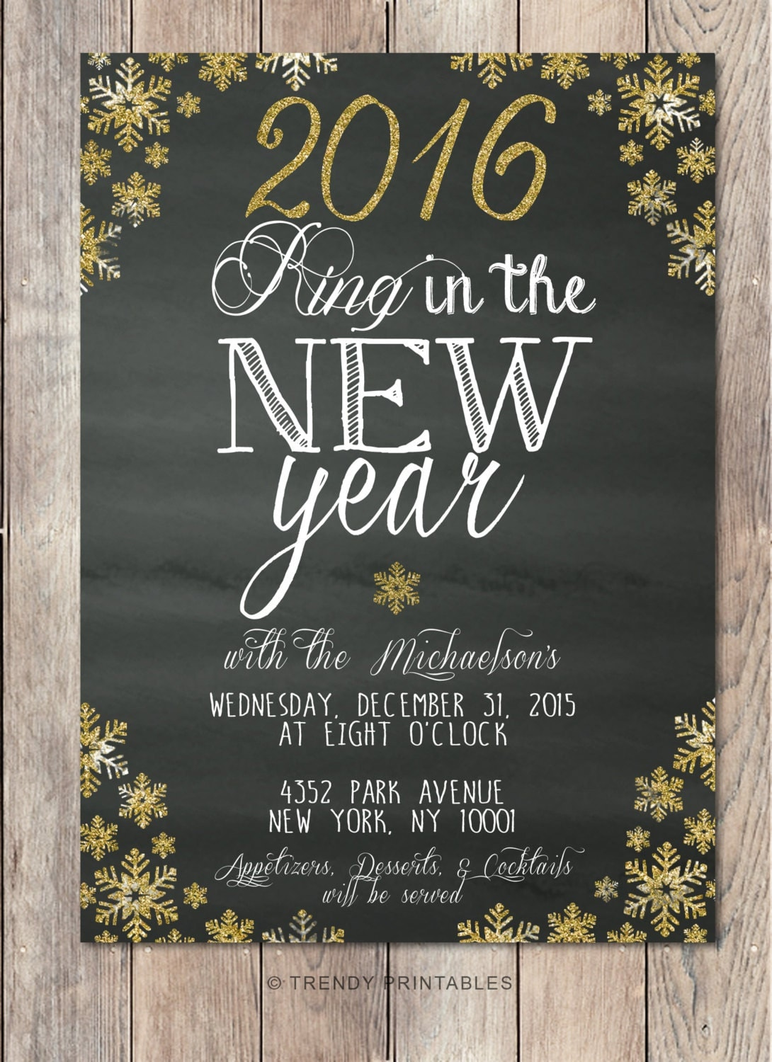 New Years Eve Party Invitation New Years by TrendyPrintables  New Years Eve P...