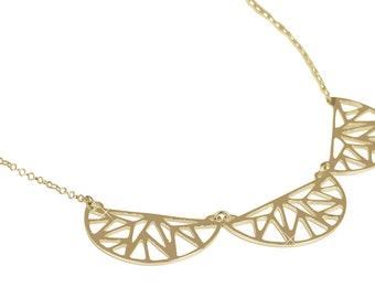 Silver or Gold Necklace, Geometric Jewelry, Gemoetric Pattern, Exclusive Design, 925 SS, 14K Yellow Gold Plate Y1001