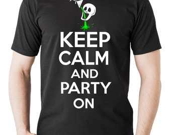 Halloween Party T-shirt Keep Calm And Party On Skull skeleton T-shirt Halloween Tee