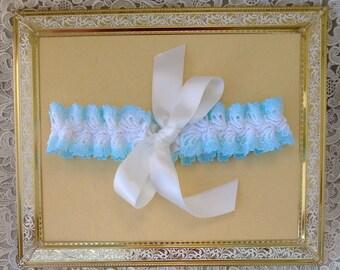 Adjustable blue and white bridal garter, lace garter, toss garter, simple wedding garter, keepsake, lingerie, bridal choker