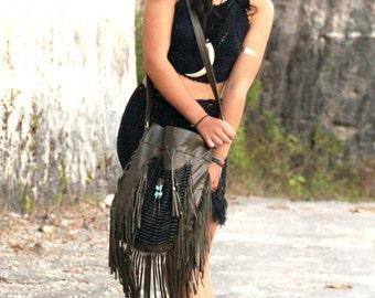 Fringe leather bag, boho purse, green olive, shoulder bag, large size