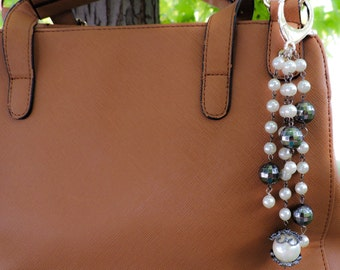 Pearl and silver purse charm