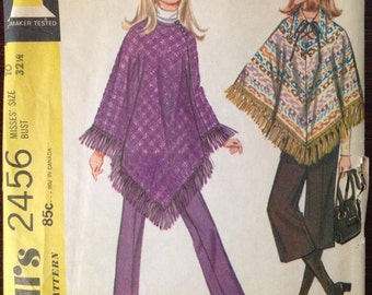 McCalls 2456 – 1970s Poncho in Two Length with Round or Pointed Collar and Full Length or Mid Calf Pants – Size - Size 10 Bust 32.5