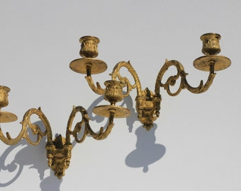Vintage French Candle Holders, candle sticks,Ormolu, home decor, wall decoration
