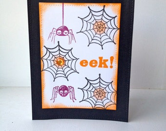 Hand stamped Halloween card with spiders.