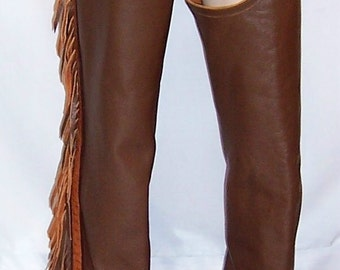 Hand-Crafted Cowhide and Ostrich Leather Chaps with Fringe