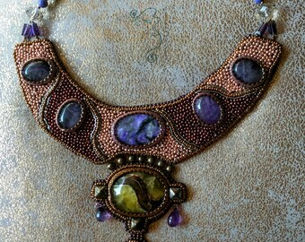 """Necklace """"Byzantine Princess"""", handmade bead embroidery choker, natural charoite, simbircite, amethyst and glass beads necklace."""