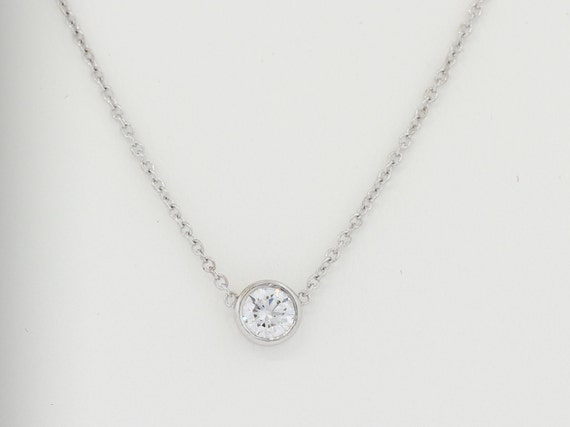 Dainty bezel set diamond necklace available in white and like this item aloadofball Images