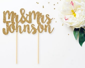 Personalized Mr & Mrs Glitter Cake Topper, Mr and Mrs Cake Topper, Wedding Cake Topper, Last Name Cake Topper, Custom Wedding Cake Topper