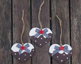 Christmas Pudding heart - Christmas decoration, Stocking filler, Wooden hearts, Christmas gift, Festive, Gifts for women, Christmas decor
