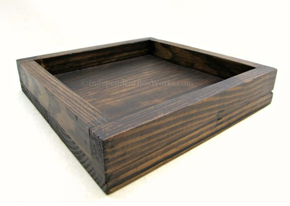 Shallow square wooden tray rustic wood by independentboxworks for Shallow coffee table
