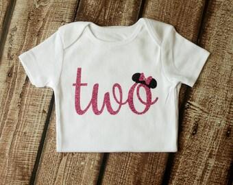 Second Birthday Shirt, 2nd Birthday Shirt, Mouse Birthday, 2nd Birthday, Hot Pink Glitter, Third Birthday, 3rd Birthday