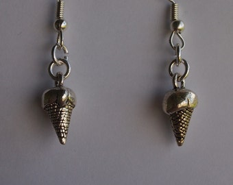 Ice Cream Cone dangles, silver tone fish hooks and plastic beads