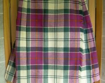 SALE!!Vintage 100%  Wool KILT Tartan skirt by Laird-Portch of SCOTLAND. Waist 26 in. Above knee length 19 in. long.
