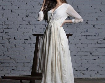 Ivory layered cotton gown