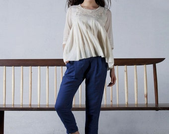 Ivory crochet york cotton top