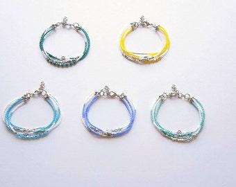 Multistrand Seed Bead Bracelet, Beaded Bracelet, Colorful Bracelet, Crystal Bracelet, Boho Bracelet, Handmade Bracelet, Friendship Bracelet