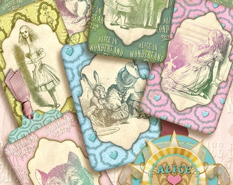 Alice in Wonderland Tags, Digital Collage Sheet, Instant Download,printable images