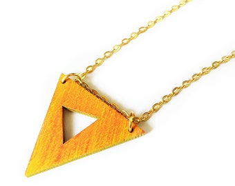 Triangle Necklace, Hand Painted Wood Necklace, Geometric Pendant Necklace, Modern Jewelry, Geometric Jewelry, Natural Wood Necklace,