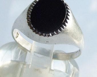Vintage 925 Sterling Silver Large Black Onyx Ring Size 12 1/4 - Y