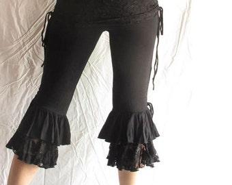 Black Lace and Ruffles Adjustable Overskirt Fluffy Yoga Dance Capri Mid Leg Pants