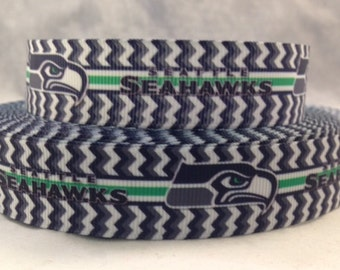 "Seattle Seahawks Ribbon - Football Ribbon - 7/8"" Grosgrain Ribbon by the yard, for hair bows,crafting and more!  Football Ribbon - Seahawks"