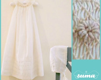 Long Baptism Gown  IVORY -  Long Christening Gown with Bonnet   - Smocked baby dress - Dedication dress - cotton