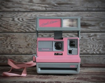 Adorable Pink Polaroid Cool Cam Instant Camera | Retro Pink and Gray | Tested and Working | Polaroid 600 | Soft Camera Case