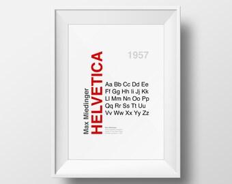 Helvetica Font Type Designer Art Print - Poster - Many Sizes
