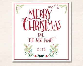 Merry Christmas Gift Tags - 2.5in x 2.5in - Holly, Festive, 2015, Border