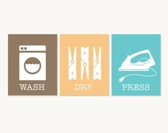 Laundry Room Art Prints - Wash Dry Press - Laundry Room Decor - Set of Three - Blue Yellow Brown