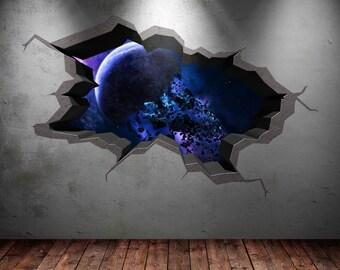 Couleur mur autocollant terre espace plan te galaxie univers for Stickers per muri