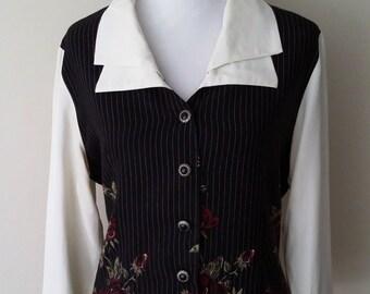 Steampunk top, M, L, Steampunk blouse, pinstripe top, pinstripe blouse, roses blouse, red roses top