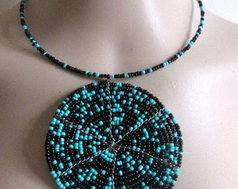 Massai style tribal Afro sistah bib choker necklace. African seed beads. Turquoise black.  Memory wired. - SEE DESCRIPTION