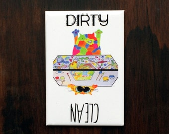 Clean Dirty Dishwasher Magnet w Funny Cat - Orange Tabby playing with paints