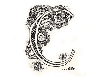 C, letter C, doodle, graphic, color in, scrapbooking, artwork, line drawing, typography