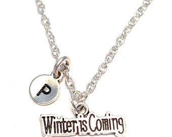 Winter is Coming Necklace, Winter Charm, Winter Pendant, Winter Jewelry, Winter Necklace, Winter Charm, Winter Gifts, Snow Jewelry